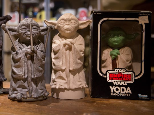 Brothers Ryan and Sean Lehmkuhl have been collecting Star Wars memorabilia since they were kids. They now have one of the largest collections in Ohio, with over 7,000 items. These are some of the molds used to make the Yoda hand puppet.