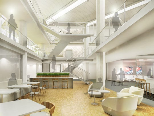 Cummins Inc. is planning to spend $50 million to upgrade its Columbus headquarters. The project mostly will modernize the interior of the building, as shown in a rendering.