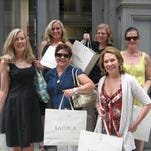 Becky Aikman, from left, Dawn Jiosi, Lesley Jacobs, Marcia Wallace, Tara Nicholson-Olson and Denise Roy take a shopping trip to New York in 2011.