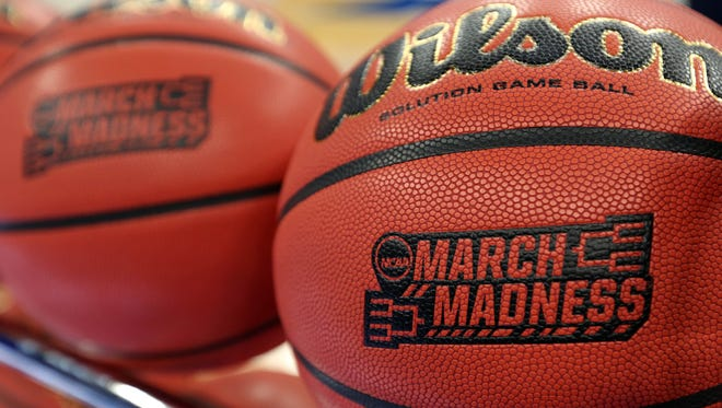 General view of NCAA March Madness basketballs during practice prior to the first round of the NCAA Tournament.