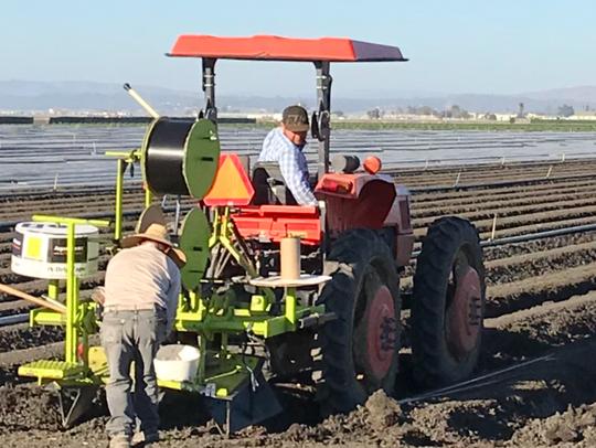 Los trabajadores del campo utilizan un tractor en un campo en las afueras de Salinas.