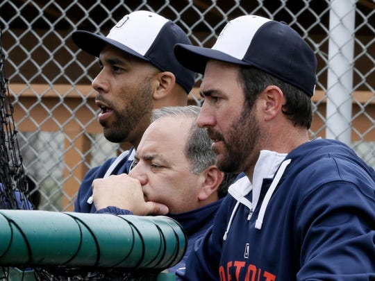 """From left, Detroit Tigers pitcher David Price, Assistant GM Al Avila and pitcher Justin Verlander watch batting practice at spring training. """"It's a little overwhelming,"""" Avila said of his new job as general manager."""