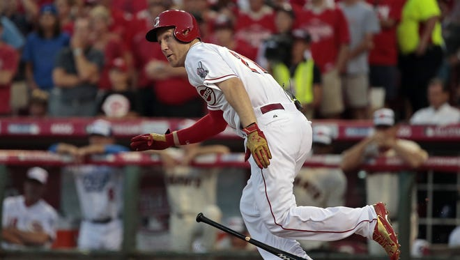 National League third baseman Todd Frazier of the Reds takes off for first on a groundout in his first at-bat in the bottom of the first inning of the MLB All-Star Game at GABP.