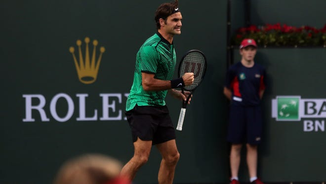 Roger Federer, of Switzerland, during the 2nd set against American Steve Johnson during the men's 3rd round at the BNP Paribas Open Tuesday, March 14, 2017 in Indian Wells, CA.