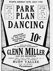 An advertisement for the Glenn Miller Orchestra's first appearance in Asbury Park, in July 1938.