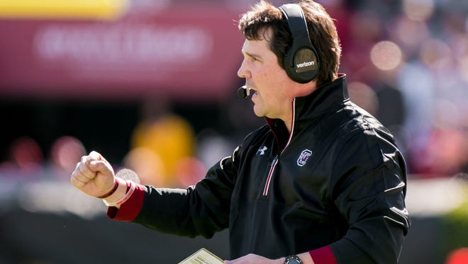 Oct 22, 2016; Columbia, SC, USA; South Carolina Gamecocks head coach Will Muschamp celebrates a fumble recovery against the Massachusetts Minutemen in the first quarter at Williams-Brice Stadium. Mandatory Credit: Jeff Blake-USA TODAY Sports
