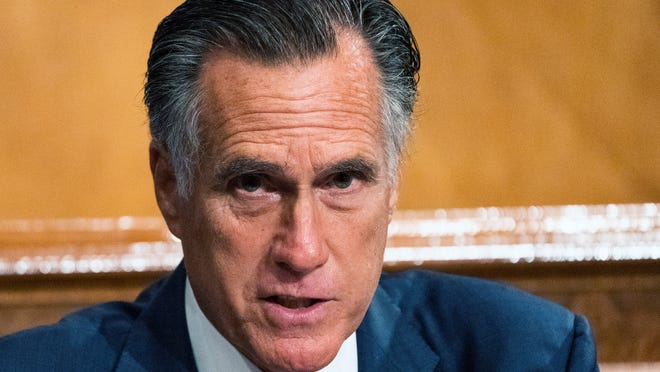 "Senate Homeland Security and Governmental Affairs Committee member Sen. Mitt Romney, R-Utah, speaks during the committee's business meeting where it will consider new subpoenas in the ""Crossfire Hurricane""/Burisma investigation on Capitol Hill, Wednesday, Sept. 16, 2020, in Washington."