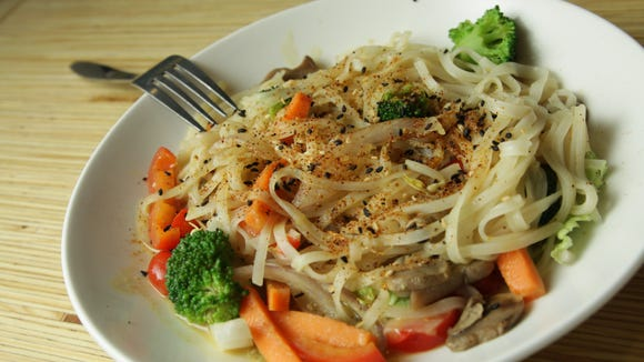 The most veggie-filled dish at Noodles and Company is the Bangkok Curry.