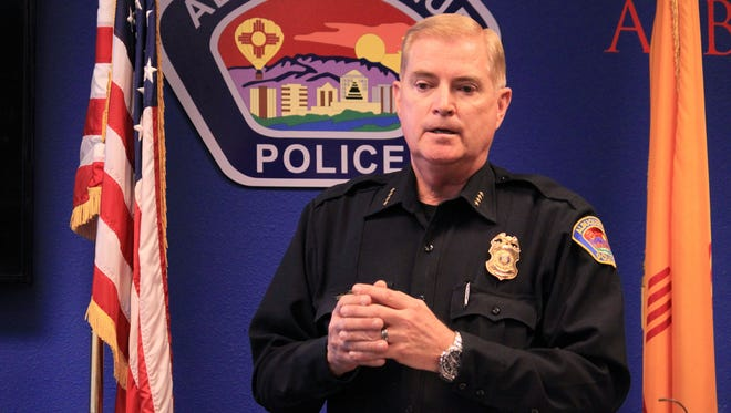 Albuquerque Police Chief Gorden Eden takes questions during a news conference in Albuquerque, N.M. on March 31, 2014.