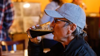 Richard DiFrances of Hartland samples a brew during Melms Tap Room grand opening in Hartland on Saturday, March 17, 2018. Melms Brewing Company is the rebirth of Milwaukee's original C.T. Melms Brewery founded in 1854.