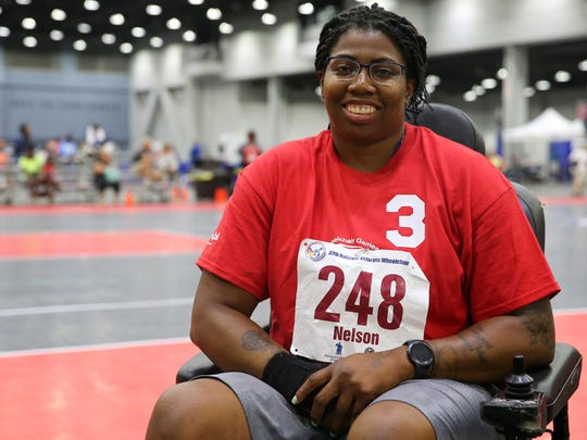 Army veteran Shawna Nelson, 35, Charlotte, North Carolina, is pictured during the 37th National Veterans Wheelchair Games, Wednesday, July 19, 2017, at the Duke Energy Convention Center in Cincinnati.