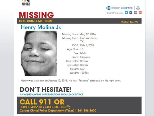 Henry Molina Jr., 15, was last seen August 2016. He