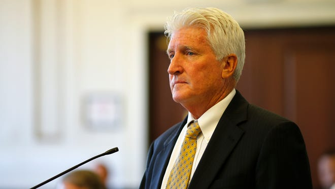 Stew Mathews, Ray Tensing's attorney, presents arguments during a pretrial hearing, Friday, May 26, 2017, in Judge Leslie Ghiz's courtroom at the Hamilton County Courthouse in Cincinnati.