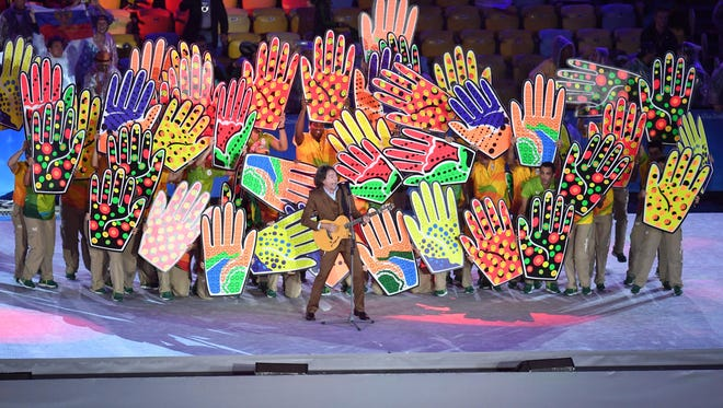 Lenine performs during the closing ceremony for the Rio 2016 Summer Olympic Games at Maracana.