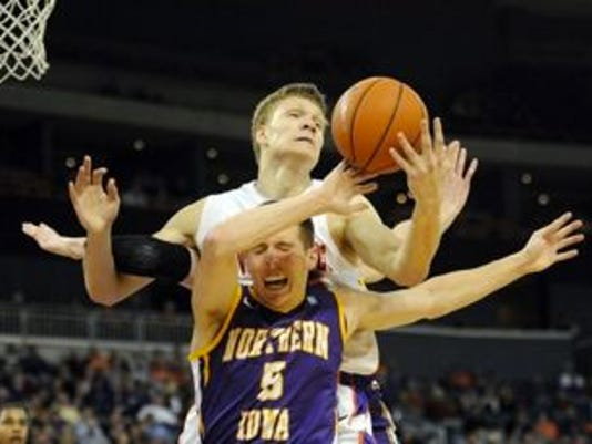 UE freshman Egidijus Mockevicius went for career highs in rebounds (13) and blocks (6) during the Aces' overtime victory Tuesday against Northern Iowa.