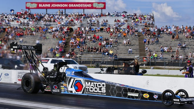 Top Fuel driver Antron Brown flies down the track during the 2019 Menards NHRA Heartland Nationals at Heartland Motorsports Park. HMP and the NHRA announced Wednesday that the 2020 national event has been canceled due to coronavirus-related crowd restrictions.