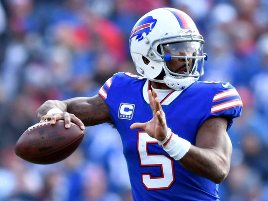 Dec 3, 2017; Orchard Park, NY, USA; Buffalo Bills quarterback