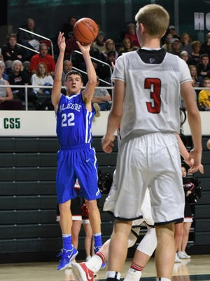 Chillicothe's Simon Roderick shoots from 3-point territory during last year's Division II district semifinal loss to Fairfield Union at Ohio University.