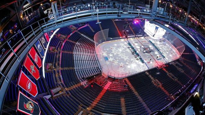 The rink at Nationwide Arena is prepared for the NHL All-Star weekend in Columbus, Ohio.