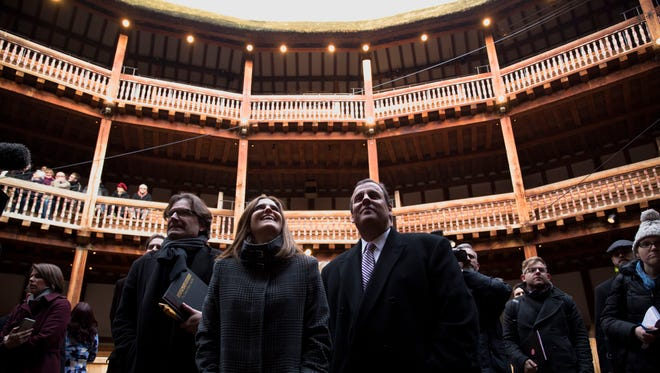 New Jersey Gov. Chris Christie, right, and his wife, Mary Pat, stand with director of Globe education Patrick Spottiswode during their visit to the Shakespeare's Globe theatre in London on Tuesday.