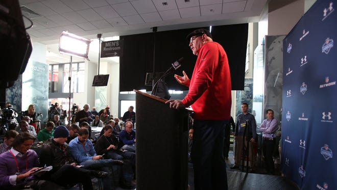 Feb 19, 2015: Arizona Cardinals coach Bruce Arians speaks to the media during the 2015 NFL Combine at Lucas Oil Stadium.