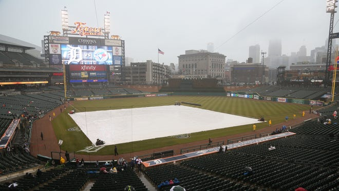 Rain before a Tigers-Blue Jays game in 2013 at Comerica Park.