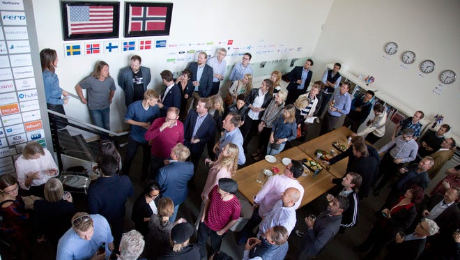 """A networking event at the Nordic Innovation House on March 11, 2015, in Palo Alto, Calif. Funded by a consortium of Norway, Sweden, Denmark, Finland and Iceland, the space provides a """"soft landing"""" for start-up companies from the Nordic countries looking to get into the Silicon Valley scene."""