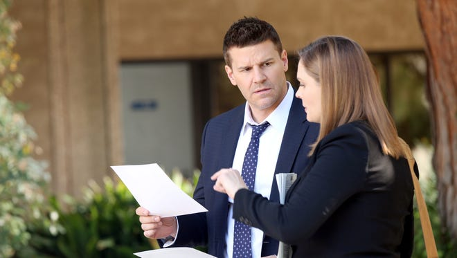 "'Bones' David Boreanaz, left, and Emily Deschanel will take part in a ""crossover event"" with Fox's 'Sleepy Hollow.'"