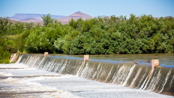 Water flows down the Rio Grande at Leasburg Dam State Park, July 12, 2016.