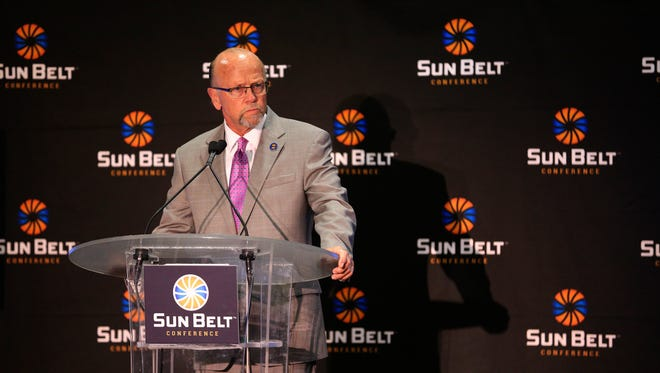 Sun Belt Commissioner Karl Benson addresses the league's state of the union Monday during Football Media Day activities.