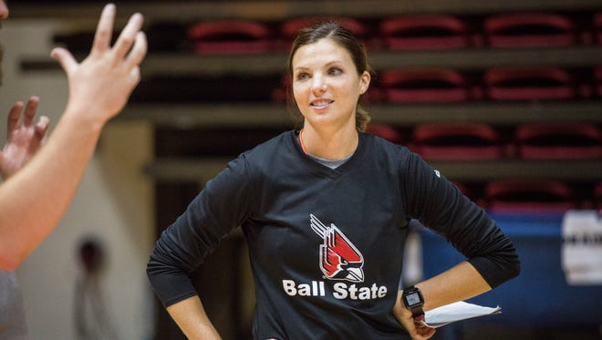 In this 2016 file photo, Ball State coach Kelli Miller gives instructions during practice.