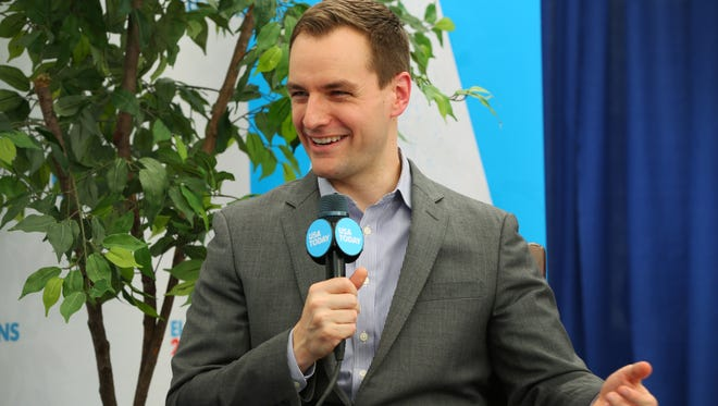 Hillary Clinton campaign manager Robby Mook is interviewed by USA TODAY during the Democratic National Convention in Philadelphia on July 26, 2016.