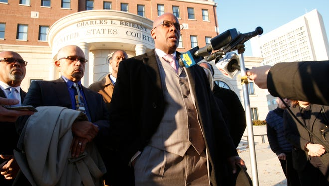 Kenneth Chamberlain Jr. at the White Plains Federal Courthouse after the jury denied all claims against the City of White Plains and former White Plains Police Officer Anthony Carelli in the shooting of Kenneth Chamberlain Sr. on Nov. 17, 2016.