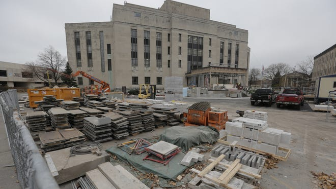 Miron Construction continues work Nov. 15, 2016, on the 1,300-square-foot welcome center and security checkpoint at the Winnebago County Courthouse.