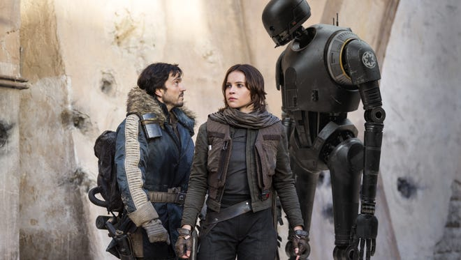 The main characters in 'Rogue One: A Star Wars Story' are, from left to right: Cassian Andor (Diego Luna), Jyn Erso (Felicity Jones) and K-2SO (Alan Tudyk).