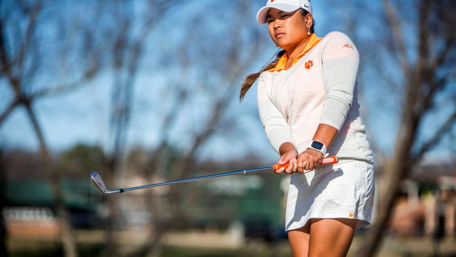 Senior Jessica Hoang practices with the Clemson's women's golf team on Monday, February 13, 2017, in Clemson.