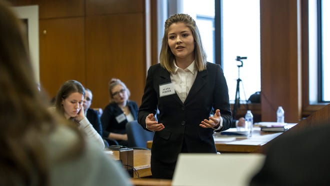 Capac's Alana Porter delivers closing arguments during the 2017 St. Clair County Mock Trial Tournament.