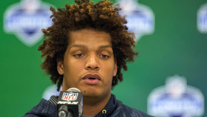 Mar 4, 2017; Indianapolis, IN, USA; Notre Dame defensive end Isaac Rochell  speaks to the media during the 2017 combine at Indiana Convention Center. Mandatory Credit: Trevor Ruszkowski-USA TODAY Sports
