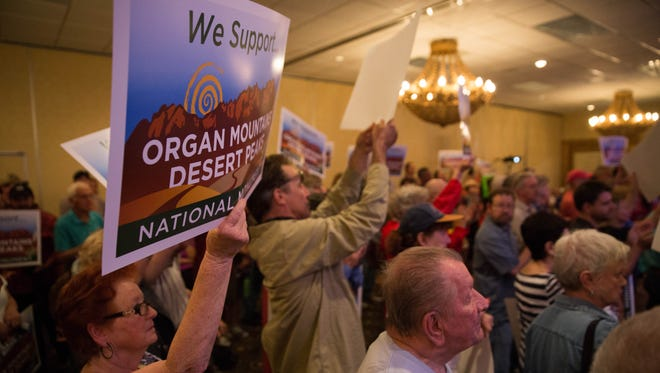 Supporters of the Organ Mountains-Desert Peaks National Monument gathered Friday, April 28, 2017, at the Ramada Inn to voice concern about the presidential executive order that could potentially shrink national monuments across the country.