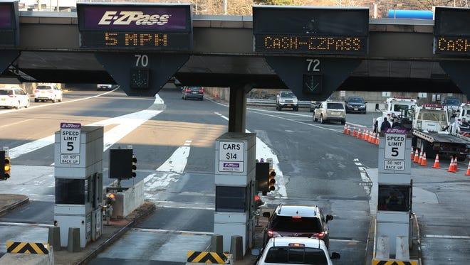 The toll plaza at the George Washington Bridge.