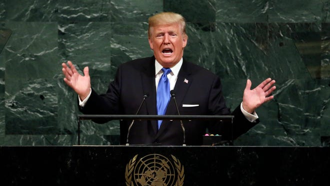 In this Sept. 19, 2017 photo, President Donald Trump addresses the 72nd session of the United Nations General Assembly, at U.N. headquarters.