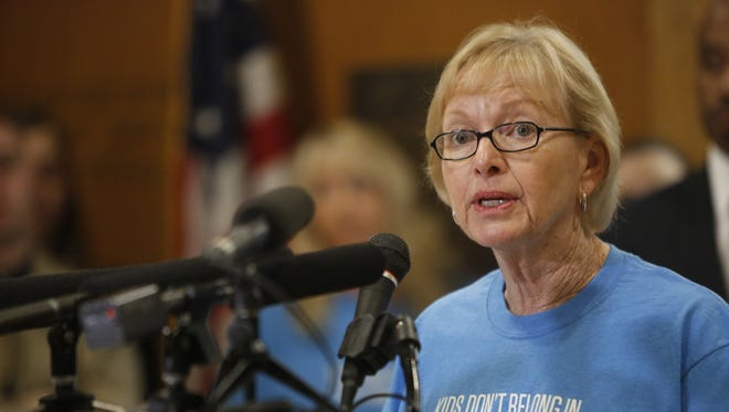 Retired public defender Nancy Daniels speaks at a press conference convened by the No Place for a Child coalition at the Florida Capitol.