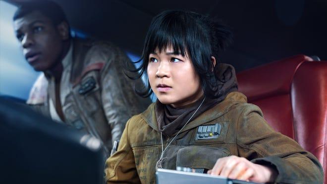 Kelly Marie Tran as Rose and John Boyega as Finn in 'Star Wars: The Last Jedi.'