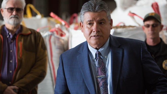 """Enrique """"Kiki"""" Vigil, Doña Ana County Sheriff, discussing the thefts of large amounts of pecans in the county and what law enforcement is planning on doing to combat those activities. Wednesday Dec. 20, 2017 at San Saba Pecan."""