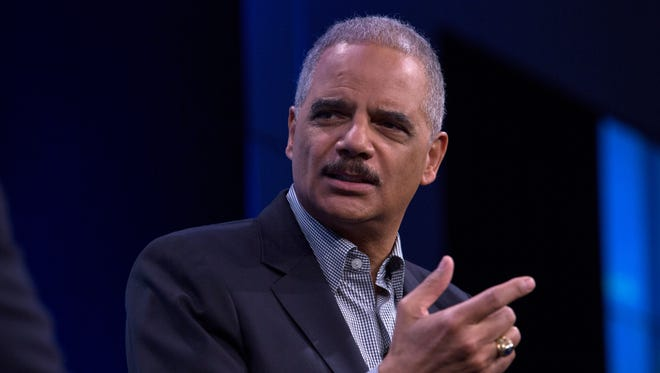 Former U.S. attorney general Eric Holder speaks during an interview at the Washington Post on February 27, 2018 in Washington, D.C.