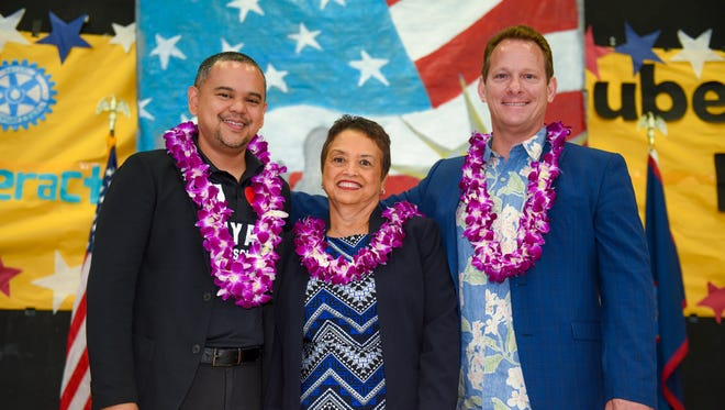 Gubernatorial candidates stand together prior to the start of a forum held before students at Tiyan High School on Thursday, April 26, 2018. From left: Sen. Dennis Rodriguez Jr. (D-Dededo); Bank of Guam President and former Democratic senator Lou Leon Guerrero and Republican Lt. Gov. Ray Tenorio. Democratic gubernatorial candidate Sen. Frank Auuon Jr. was not able to attend the forum because of session being called at the Guam Legislature. Also not in attendance was Democratic gubernatorial candidate and former Gov. Carl Gutierrez because his campaign organizers had concerns on how the students' forum was being managed.