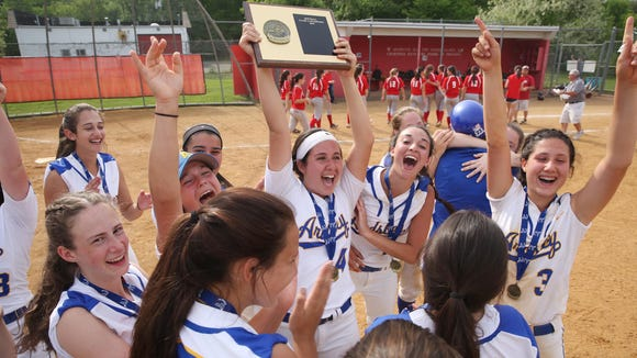 Ardsley players celebrate after defeating Tappan Zee