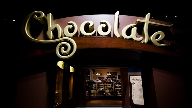 The entrance to Chocolate: The Exhibition at the Cincinnati Museum Center on Thursday, June 28, 2018 in Cincinnati. The exhibit highlights the journey that chocolate takes from the rainforest to the candies and cocoas we consume.