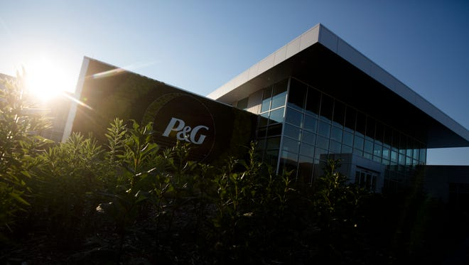 The front entrance of Procter and Gamble new Tabler Station Factory in West Virginia on Monday, July 9, 2018.