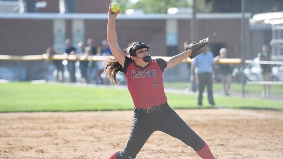 Emerson at Midland Park in the second round of the North 1, Group 1 Softball State Tournament on Wednesday, May 23, 2018. E #9 Stephanie Seretis.